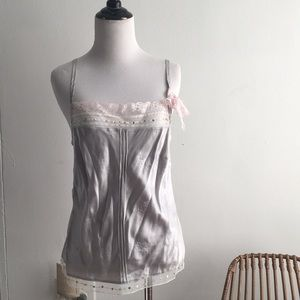 VTG silver pink lace span silk sq neck tank top S